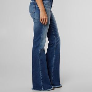 CanKan Unfinished Hem Flare Jeans, NEW!